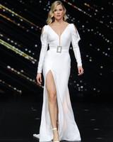 pronovias belted long sleeve wedding dress with high slit spring 2020