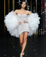 pronovias short strapless metallic wedding dress spring 2020