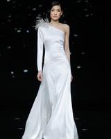 pronovias asymmetric wedding dress with sculptural beading on one shoulder spring 2020