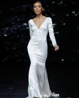 pronovias long sleeve v-neck wedding dress spring 2020