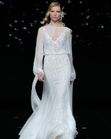 pronovias sheer long sleeve and lace wedding dress spring 2020