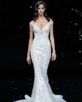 pronovias lace off-the-shoulder mermaid wedding dress spring 2020