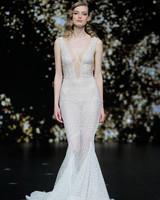 pronovias sheer beaded mermaid wedding dress spring 2020