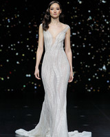 pronovias sequined short sleeve sheath wedding dress spring 2020