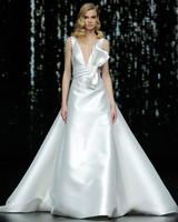 pronovias sleeveless plunging neckline a-line wedding dress with bow spring 2020