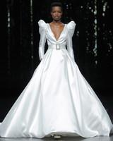 pronovias belted long leg of mutton sleeves ballgown wedding dress spring 2020