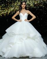 pronovias strapless ruffled ballgown wedding dress spring 2020