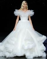 pronovias off-the-shoulder ruffled ballgown wedding dress spring 2020