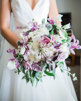 bouquet with purple garden roses