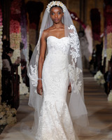 exposed boning semi sweetheart lace mermaid wedding dress Reem Acra Spring 2020