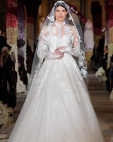 tie neck sheer lace long sleeve ball gown wedding dress Reem Acra Spring 2020