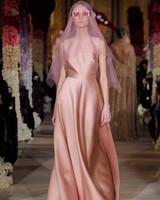 salmon colored jewel neckline sleeveless a-line wedding dress Reem Acra Spring 2020