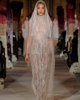 high neck sheer beaded sheath wedding dress Reem Acra Spring 2020