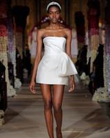 straight across strapless short wedding dress Reem Acra Spring 2020