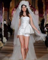 straight across strapless short wedding romper bow front Reem Acra Spring 2020