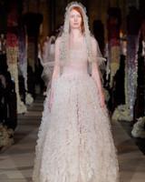 exposed boning vertical ruffled tulle skirt a-line wedding dress Reem Acra Spring 2020