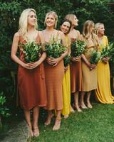 sarah daniel wedding bridesmaids in orange and yellow