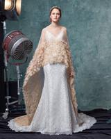 sareh nouri dress fall 2019 champagne embroidered cape