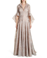 Badgley Mischka Metallic Organza Gown