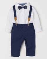 H&M Spring Ring Bearer Pants and Shirt Combination with Suspenders