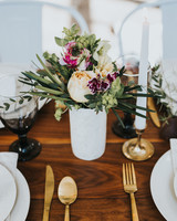 Modern summer wedding centerpiece
