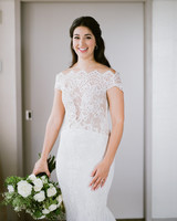 bride lace-adorned sleeveless off the shoulder dress