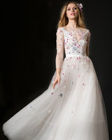 temperley wedding dress spring 2019 high neck tulle ballgown with purple flowers