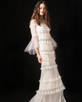 temperley three quarter flutter sleeves ruffled sheath wedding dress spring 2020