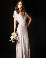 temperley sparkly plunging neckline sheath wedding dress spring 2020