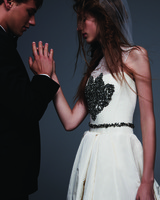 Modern Wedding Gown with Black Embellishments