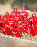 farm themed wedding red cow bells