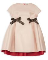 winter flower girl short-sleeved rose gold dress with two fendi logo bows at waist