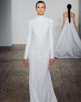 allison webb wedding dress long sleeves high neck sparkly sheath