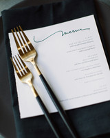 wedding menu gold flatware