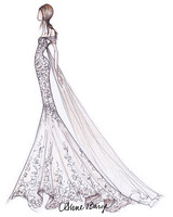 anne barge wedding dress sketch