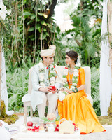 anuja nikhil wedding ceremony bride and groom sitting