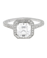 Beverly K Asscher-Cut Deco Inspired Diamond Engagement Ring