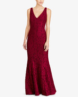 burgundy v-neck lace gown