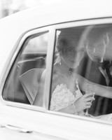 chelsea conor wedding couple in car