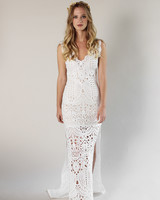 Claire Pettibone sheer Lace Applique Gown