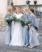 winter bride and bridesmaids