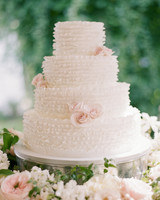Deckle-Edge White Wedding Cake with Roses