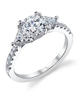 east west engagement rings three stone silver