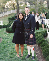 fall wedding guests attire layers jacket dress kilt