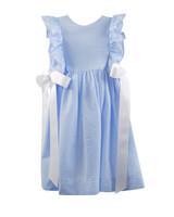 blue flower girl dress white bow