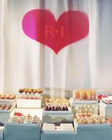 heart sign dessert table