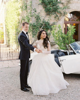 high neck ivory macrame lace draped ball gown wedding dress