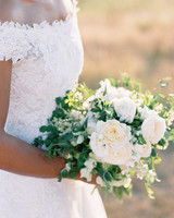 simple white and green floral and greenery wedding bouquet