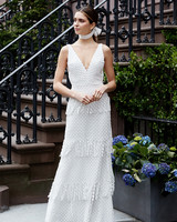 lela rose wedding dress spring 2019 v-neck fringed pattern