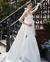 lela rose wedding dress spring 2019 square neck trumpet with cape